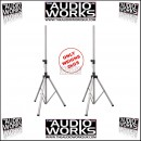 PAIR ULTRALIGHT 2KG HEAVY DUTY SPEAKER STANDS SILVER