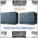 PAIR WS218 1000W PROFESSIONAL BASS / SUBWOOFERS