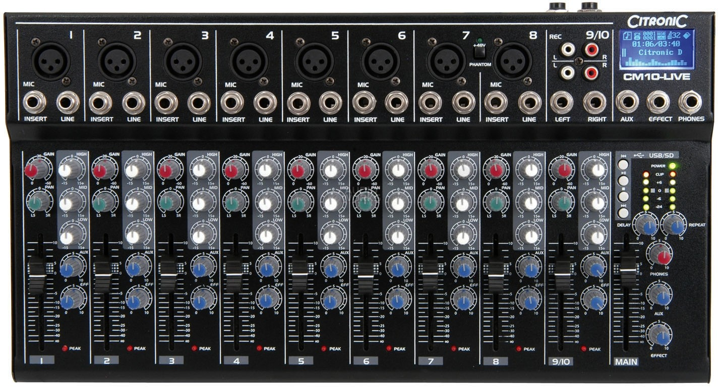 CITRONIC CM10-LIVE 10CH MIXER WITH EFFECTS USB & SD PLAYER