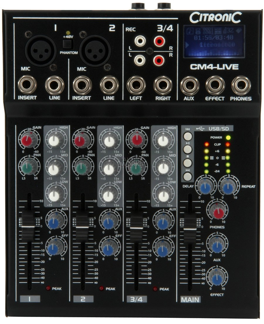 CITRONIC CM4-LIVE 4CH MIXER WITH EFFECTS USB & SD PLAYER