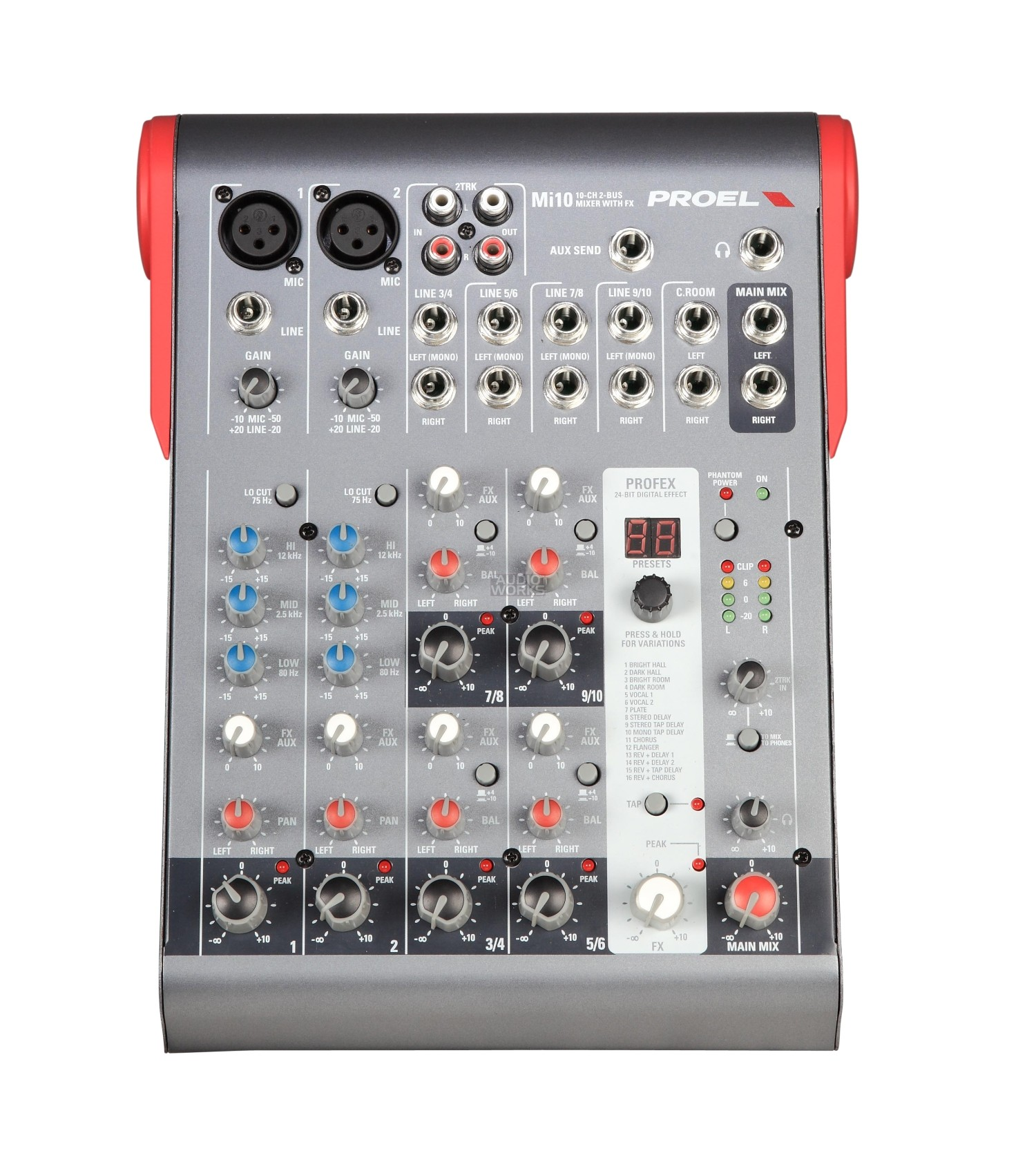 Proel Mi10 Ultra Compact 10 Channel 2 Bus Mixer With Effects Audio Stereo For Microphone Channels 10ch Fx