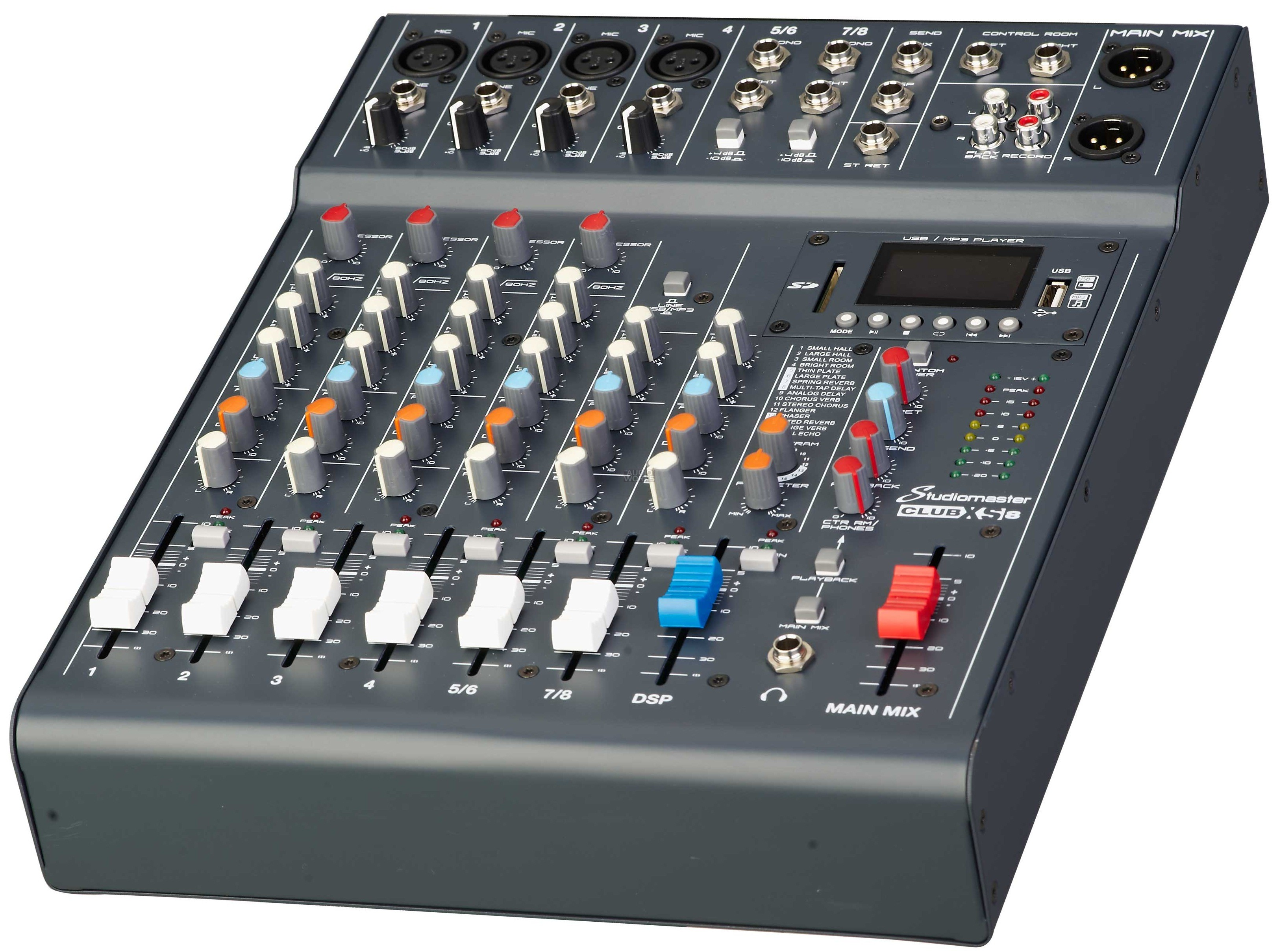 studiomaster club xs 8 8ch mixer with mp3 sd usb bluetoooth playback at audio works. Black Bedroom Furniture Sets. Home Design Ideas