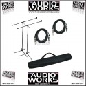 PAIR MIC STANDS / LEADS AND BAG PACKAGE